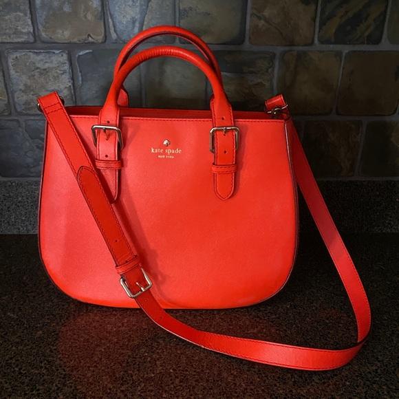 Kate Spade Orange Saffiano Satchel Handbag